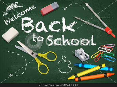Background Welcome Back to School stock vector clipart, Welcome Back to School Title Written in a Chalkboard with Decorative Equipment - Colored and Detailed Illustration, Vector by derocz