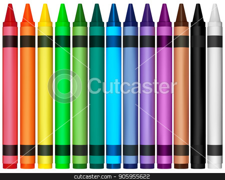 Colorful Wax Crayons stock vector clipart, Colorful Wax Crayons - Colored Illustration for Your Graphic Design, Vector by derocz