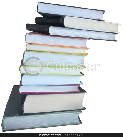 A Stack of Books on a White Background stock vector clipart, A Stack of Books on a White Background - Isolated Books Illustration on White Background, Detailed Vector Image by derocz