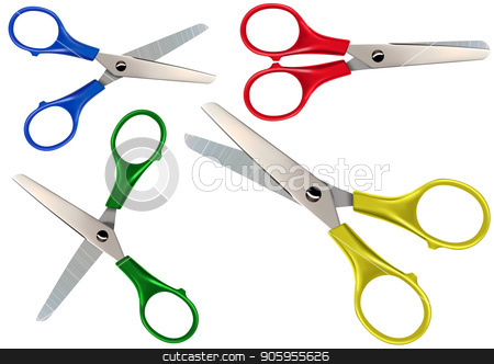 Scissors Set Isolated on White stock vector clipart, Scissors Set with Different Colored Finger Rings - Detailed Illustrations Isolated on White Background, Vector by derocz