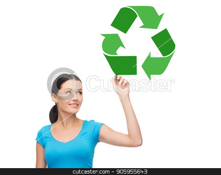 happy woman drawing green recycle symbol stock photo, waste recycling, reuse, environment and ecology concept - happy woman drawing green recycle symbol over white background by Syda Productions