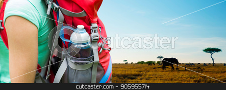 close up of woman with water bottle in backpack stock photo, travel, tourism, hike and people concept - close up of woman with water bottle in backpack pocket over animals in african savannah background by Syda Productions
