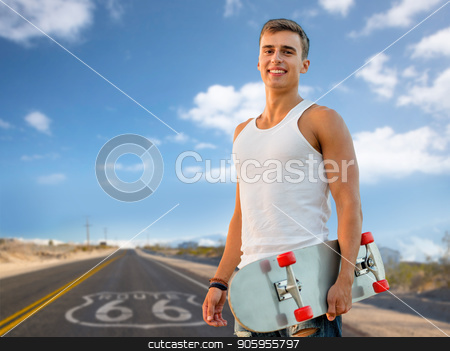 man with skateboard over us route 66 background stock photo, leisure, road trip and travel concept - smiling young man with skateboard over us route 66 background by Syda Productions