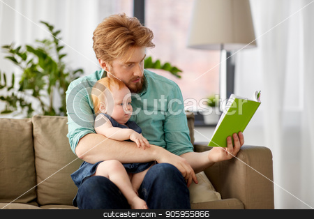 father reading book for baby daughter at home stock photo, family, fatherhood and people concept - red haired father reading book for little baby daughter at home by Syda Productions
