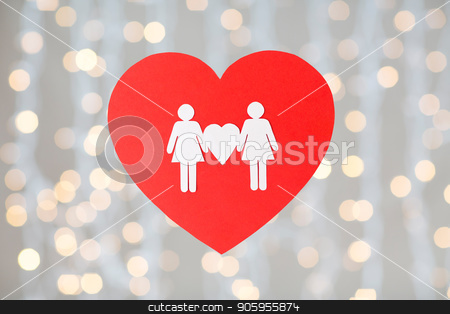 female couple white paper pictogram on red heart stock photo, gay pride, homosexual, valentines day and lgbt concept - female couple white paper pictogram on red heart over festive lights background by Syda Productions