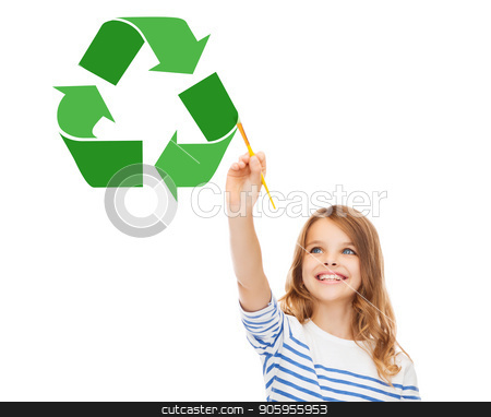 happy girl with brush drawing green recycle symbol stock photo, waste recycling, reuse, environment and ecology concept - happy girl with brush drawing green recycle symbol over white background by Syda Productions