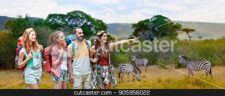friends with backpacks over african savannah stock photo, travel, tourism, hike and adventure concept - group of smiling friends with backpacks pointing finger to something over zebras in african savannah background by Syda Productions