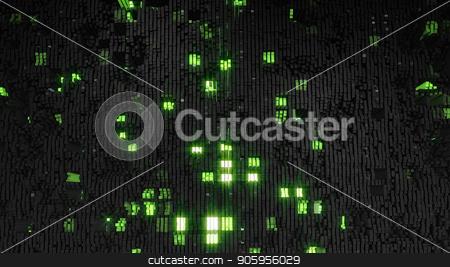 3D render Digital background of the many black-green squares stock photo, 3D render Digital background of the many black-green squares 4k by bigcity31