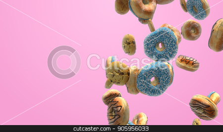 3D render Different donuts on a pink background stock photo, 3D render Different donuts on a pink background 4K by bigcity31