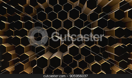 Black-gold abstract field hexagon stock photo, Black-gold shine abstract field vj hexagon 4k by bigcity31