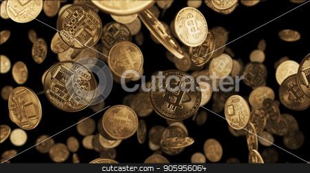 3D render Falling gold coins bitcoin stock photo, 3D render Falling gold coins bitcoin 4k by bigcity31