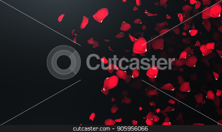 3D render Flying petals of roses with on an black background stock photo, 3D render Flying petals of roses with on an black background 4k by bigcity31