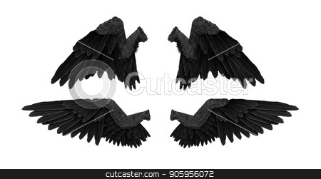 3D render black angel wings with on an white background stock photo, 3D render black angel wings with on an white background4K by bigcity31
