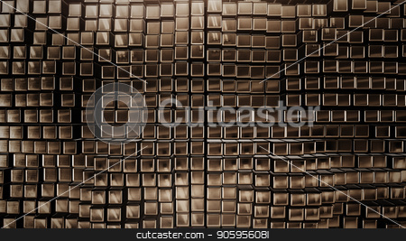 3D render Background from the golden squares stock photo, 3D render Background from the golden squares 4k by bigcity31