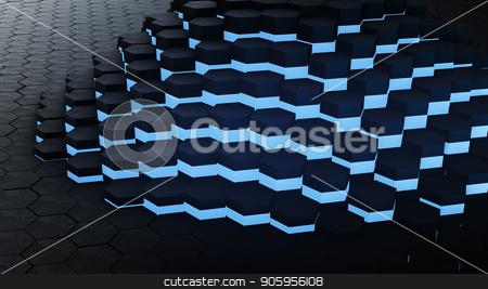 3D render VJ hexagon glow digital background stock photo, 3D render VJ hexagon glow digital background 4k by bigcity31