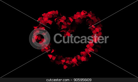3D render Heart of rose petals on an black background stock photo, 3D render Heart of rose petals on an black background 4k by bigcity31