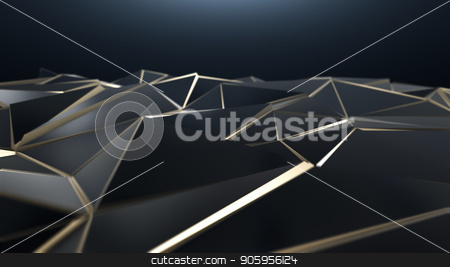 3D render Black and gold abstract low poly triangle background stock photo, 3D render Black and gold abstract low poly triangle background 4k by bigcity31