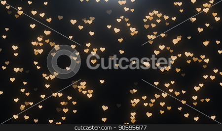 Golden hearts on a black background stock photo, Golden hearts on a black background 4k by bigcity31