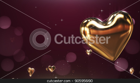 3D rendering Flying golden hearts on a claret background stock photo, 3D rendering Flying golden hearts on a claret background 4k by bigcity31