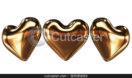 3D rendering Golden 3d heart on a white background stock photo, 3D rendering Golden 3d heart on a white backgroundl 4k by bigcity31