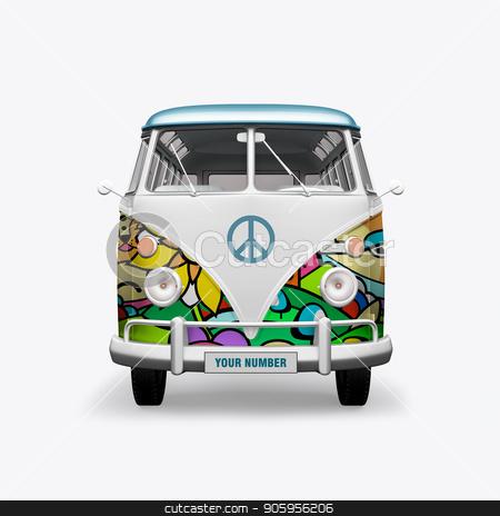 3D render hippie bus on white background stock photo, 3D render hippie bus on white background 4k by bigcity31
