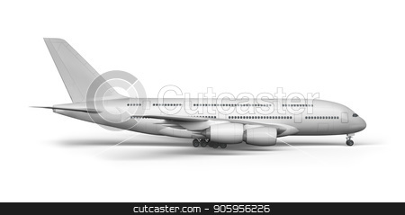 Passenger plane 3D render on a white background stock photo, Passenger plane 3D render on a white background 4k by bigcity31