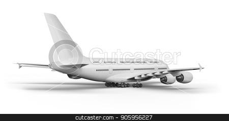 Passenger plane 3D render on a white background stock photo, Passenger plane 3D render on a white background 4k by bigcity31