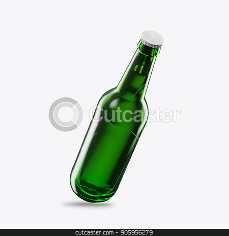 3D render beer bottle green on a white background stock photo, 3D render beer bottle green on a white background 2k by bigcity31