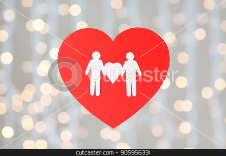 male couple white paper pictogram on red heart stock photo, gay pride, homosexual, valentines day and lgbt concept - male couple white paper pictogram on red heart over festive lights background by Syda Productions