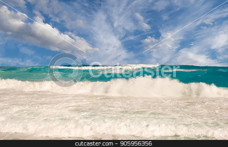Rough Seas Stormy Sky stock photo, A beach scene with a rough surf and storm clouds moving in by Darryl Brooks