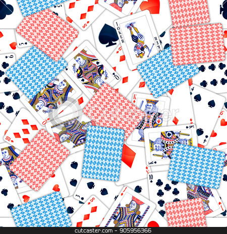 Lot of realistic playing cards, seamless pattern stock vector clipart, A lot of realistic playing cards, seamless pattern by Evgeny