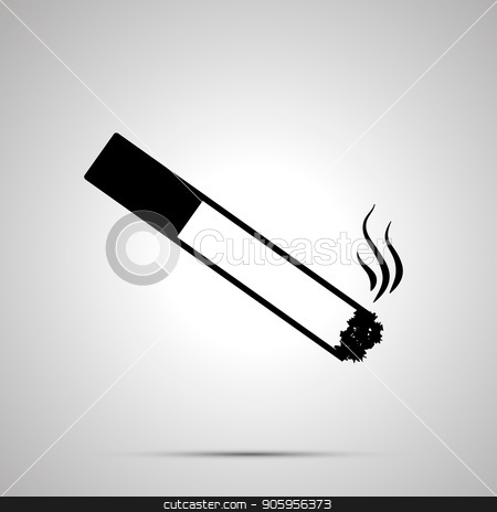 Burning cigarette with smoke, simple black icon stock vector clipart, Burning cigarette with smoke, simple black icon with shadow by Evgeny
