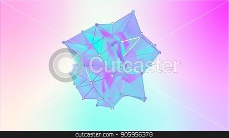 Illustration of a shape metamorphosis of a polygonal semi transparent model. Multicolor 3D illustration of a polygonal 3D blot. Blue, cyan and violet colors stock photo, Illustration of a shape metamorphosis of a polygonal semi transparent model. Multicolor 3D illustration of a polygonal 3D blot. Blue, cyan and violet colors. by T-flex