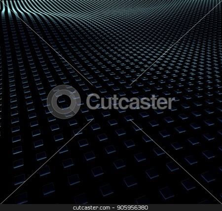 3D Illustration background of squares on surfaces with waves. stock photo, 3D Illustration background of squares on surfaces with waves by T-flex