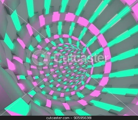Sci-fi illustration of a flight through tunnel. Neon tube 3D render design stock photo, Sci-fi illustration of a flight through tunnel. Neon tube 3D render design. by T-flex