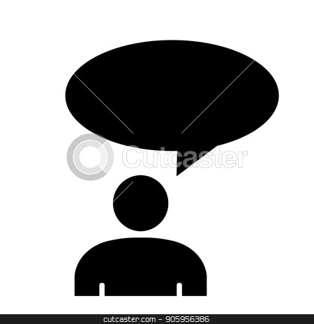 Sign of a thinking person stock vector clipart, Sign of a thinking person. Man wondered. Vector illustration. by Evgeniy Dzyuba
