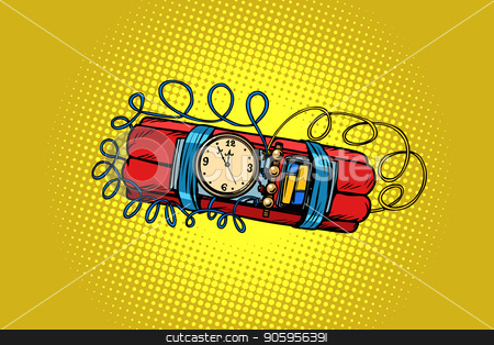 time bomb. explosive dynamite stock vector clipart, time bomb. explosive dynamite. Comic cartoon pop art retro vector illustration drawing by rogistok