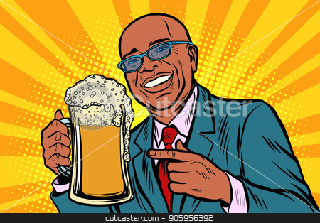 Smiling man with a mug of beer foam. African American people stock vector clipart, Smiling man with a mug of beer foam. African American people. Comic cartoon pop art retro vector illustration drawing by rogistok