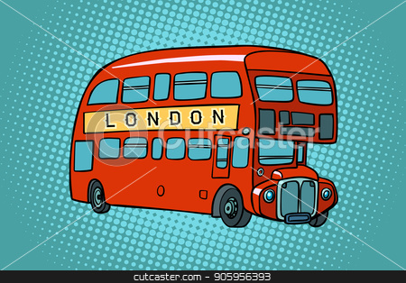 London double Decker bus stock vector clipart, London double Decker bus. Comic cartoon pop art retro vector illustration drawing by rogistok