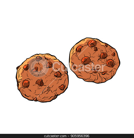 chocolate chip cookies isolate on white background stock vector clipart, chocolate chip cookies isolate on white background. Comic cartoon pop art retro vector illustration drawing by rogistok