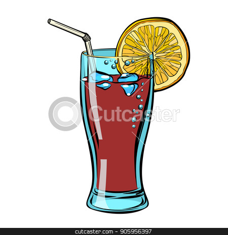 Cola with lemon. isolate on a white background stock vector clipart, Cola with lemon. isolate on a white background. Comic cartoon pop art retro vector illustration drawing by rogistok