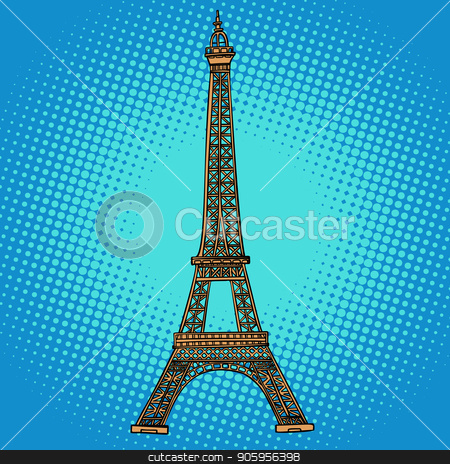 Eiffel tower. Paris France stock vector clipart, Eiffel tower. Paris France. Comic cartoon pop art retro vector illustration drawing by rogistok