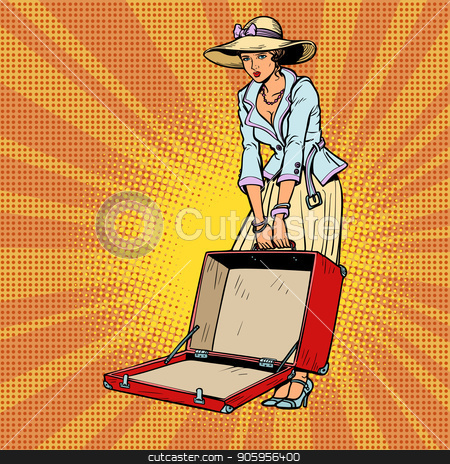 Woman with open suitcase stock vector clipart, Woman with open suitcase. Comic cartoon pop art retro vector illustration drawing by rogistok