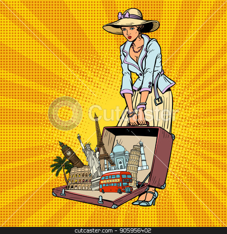 Pop art retro woman traveler stock vector clipart, Pop art retro woman traveler. Comic cartoon retro vector illustration drawing by rogistok