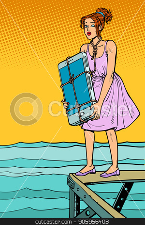 Woman suicide with smartphone on neck wants to drown herself stock vector clipart, Woman suicide with smartphone on neck wants to drown herself. Beach promenade. Comic cartoon pop art retro vector illustration drawing by rogistok