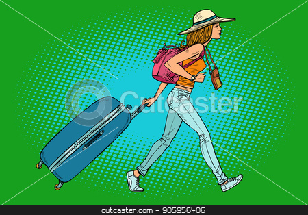 Woman traveler with suitcase stock vector clipart, Woman traveler with suitcase. Comic cartoon pop art retro vector illustration drawing by rogistok