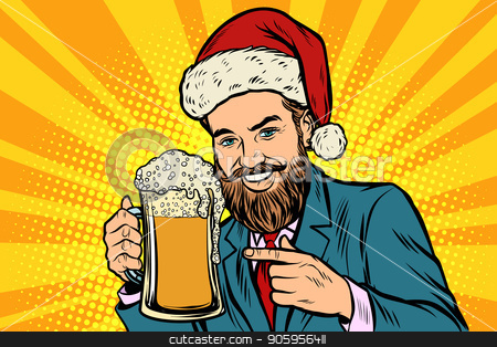 Christmas and New year. Smiling man with a mug of beer foam stock vector clipart, Christmas and New year. Smiling man with a mug of beer foam. Comic cartoon pop art retro vector illustration drawing by rogistok