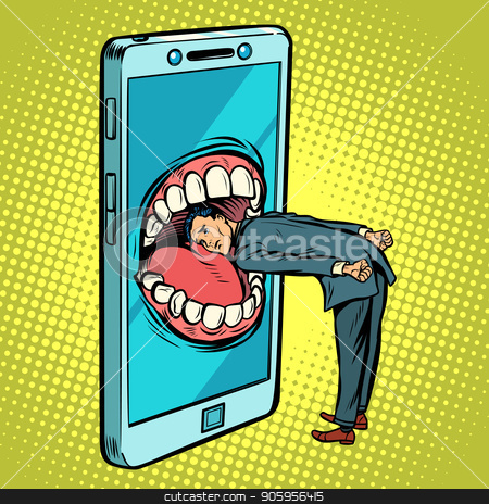 Dangerous phone, look online and the Internet stock vector clipart, Dangerous phone, look online and the Internet. Comic cartoon pop art retro vector illustration drawing by rogistok