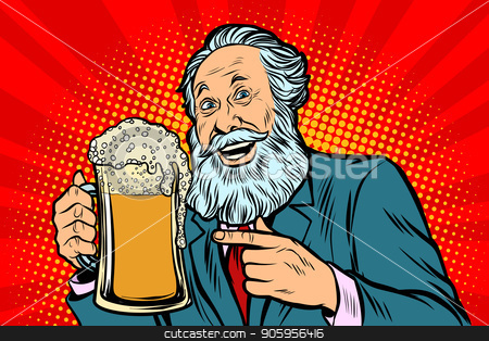 Smiling old man with a mug of beer foam stock vector clipart, Smiling old man with a mug of beer foam. Comic cartoon pop art retro vector illustration drawing by rogistok