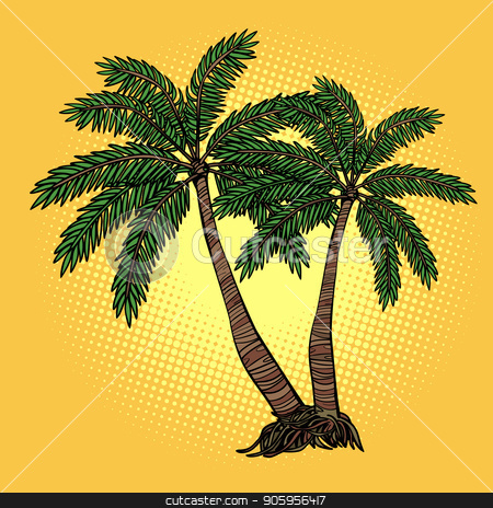Tropical palm trees stock vector clipart, Tropical palm trees. Comic cartoon pop art retro vector illustration drawing by rogistok
